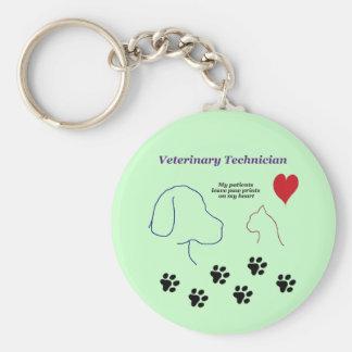 Veterinary Technician - Paw Prints on My Heart Keychain