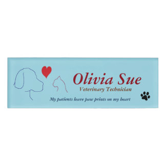 Veterinary Technician Paw Prints On My Heart Name Tag