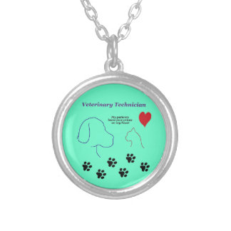 Veterinary Technician - Paw Prints on My Heart Silver Plated Necklace