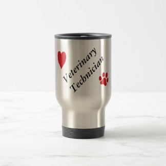 Veterinary Technician-Red Paw Print and Heart Travel Mug