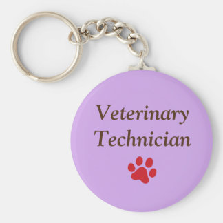 Veterinary Technician/Red Paw Print/Purple Keychain