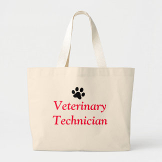 Veterinary Technician with Black Paw Print Large Tote Bag