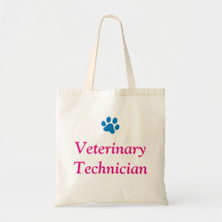 Veterinary Technician with Blue Paw Print Tote Bag