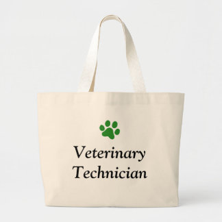 Veterinary Technician with Green Paw Print Large Tote Bag