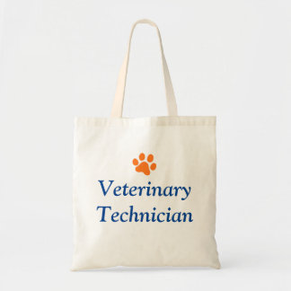 Veterinary Technician with Orange Paw Print Tote Bag