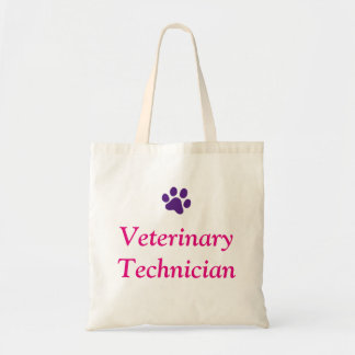 Veterinary Technician with Purple Paw Print Tote Bag