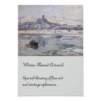 Vetheuil en Hiver Boat on River 5x7 Paper Invitation Card