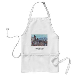 Vétheuil Road In Winter By Claude Monet Adult Apron