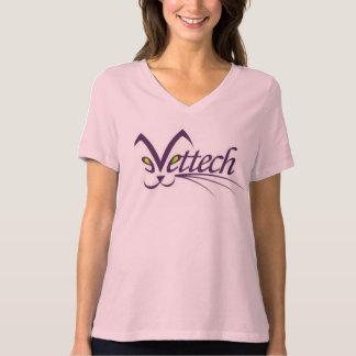 vettech logo v-neck tee pink size large