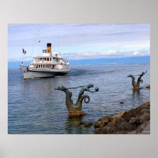 Vevey Paddle boat, Lake Geneva 97 Poster
