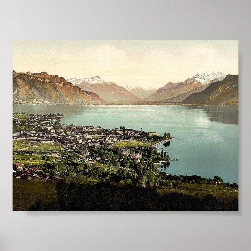 Vevey, y abolladura du Midi, lago geneva, Suiza Póster