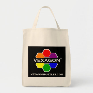 Vexagon Puzzles Tote 1 (Color on Black) Bags