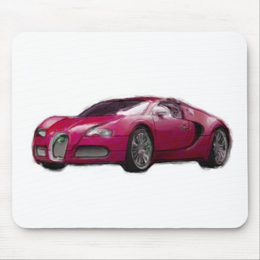 Veyron Sports Car Hand Painted Art Brush Mouse Pad
