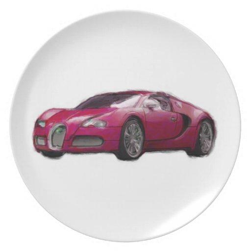 Veyron Sports Car Hand Painted Art Brush Plate