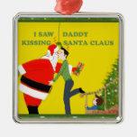 Vi navidad del gay de Papá Noel del papá que se Adorno Cuadrado Plateado