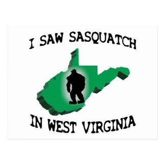 Vi Sasquatch en Virginia Occidental Tarjeta Postal
