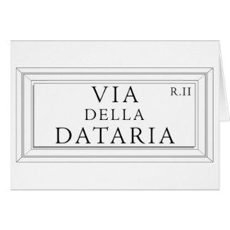 Via della Dataria, Rome Street Sign Greeting Cards