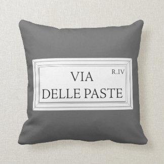 Via delle Paste, Rome Street Sign Throw Pillows