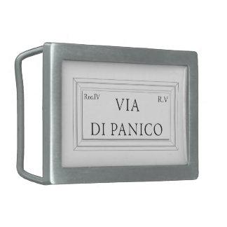 Vía di Panico, placa de calle de Roma Hebilla De Cinturón Rectangular
