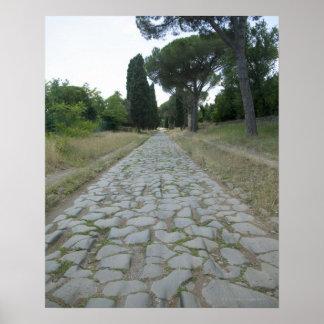 Vía la manera de Appia Appian, camino romano Póster