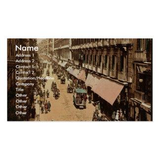 Via Roma, Naples, Italy classic Photochrom Business Card Templates
