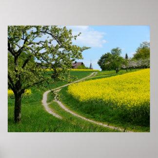 "Vía rural a la Rapsfeld.Frühling, maulbronn ""Schmi Posters"