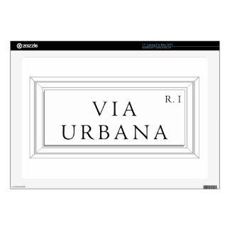 """Via Urbana, Rome Street Sign Skins For 17"""" Laptops"""