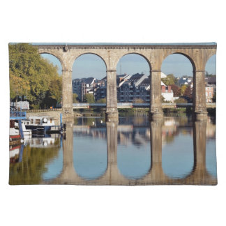 Viaduct on river Mayenne at Laval in France Cloth Placemat