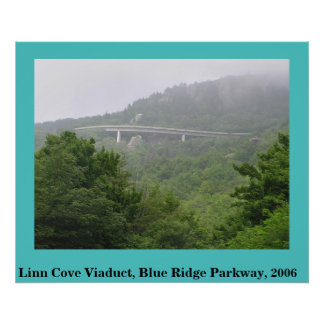 Viaducto azul de la ensenada de Linn de la ruta ve Póster