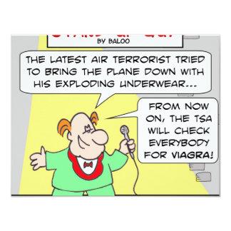 viagra terrorism air travel underwear explosive 4.25x5.5 paper invitation card