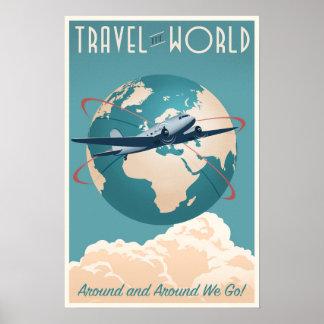 Viaja el mundo - en estilo del vintage póster