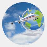 Viaja el mundo etiqueta redonda