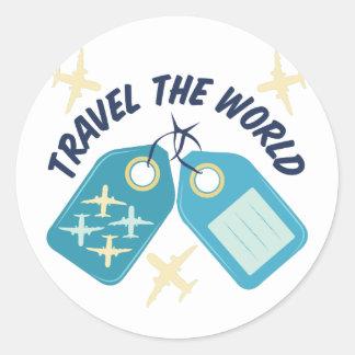 Viaja el mundo pegatina redonda