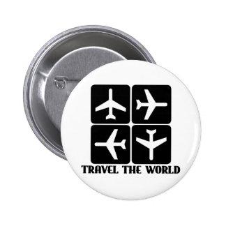 Viaja el mundo pin redondo de 2 pulgadas