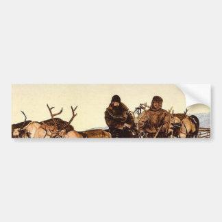 Viajando por el reno, arcángel, Rusia P clásico Pegatina De Parachoque