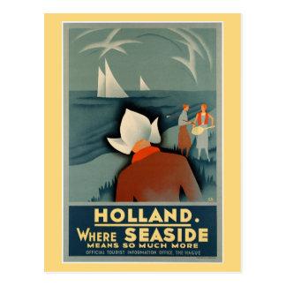 Viaje 1930 de la playa de Holanda del vintage Postal
