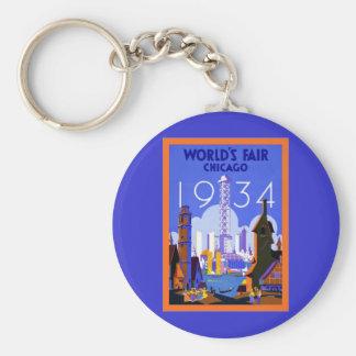 Viaje 1934 del vintage del ~ de Chicago de la feri Llaveros Personalizados