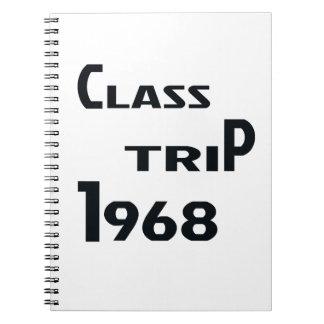 Viaje 1968 de la clase libro de apuntes