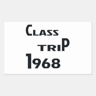 Viaje 1968 de la clase pegatina rectangular