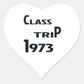 Viaje 1973 de la clase pegatina en forma de corazón