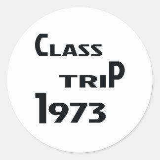 Viaje 1973 de la clase pegatina redonda