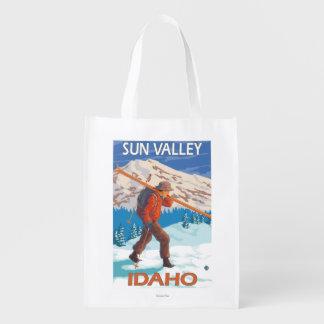Viaje 2 del vintage de los esquís de la nieve del bolsa reutilizable