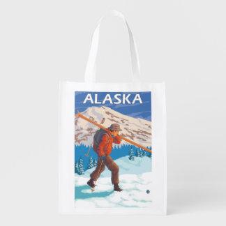 Viaje 2 del vintage de los esquís de la nieve del bolsas de la compra