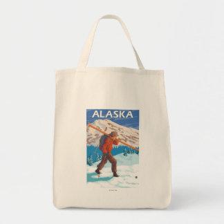 Viaje 3 del vintage de los esquís de la nieve del bolsa lienzo