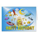 Viaje 6to del espacio. Tarjeta de cumpleaños