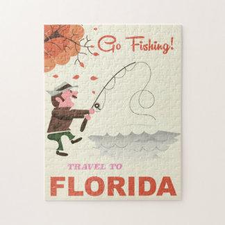 Viaje a la impresión de la pesca del vintage de la puzzles con fotos