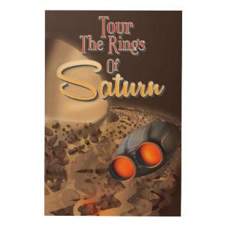 Viaje a los anillos del cartel del viaje de Saturn Cuadros De Madera