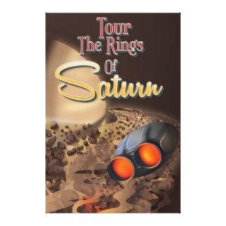 Viaje a los anillos del cartel del viaje de Saturn Impresion De Lienzo