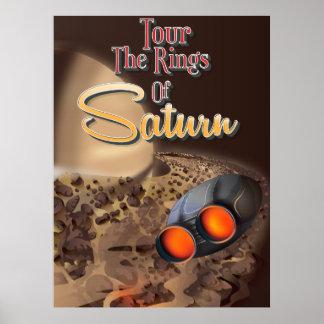 Viaje a los anillos del cartel del viaje de Saturn Póster