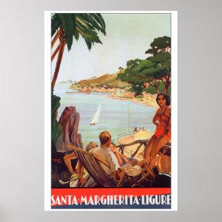 Viaje a Santa Margherita Ligure Italia Póster